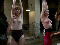 Two slim girls get spnaked, tied up and punished
