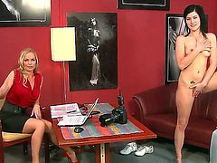 Wonderful babe Silvia Saint is making a private interview with amazing girl Lucy Bell, which is then undressing on camera and showing her sweet naked body.