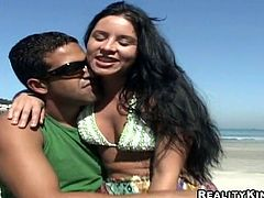 Smiling hot Latina gal desires to provide her boyfriend with a handjob