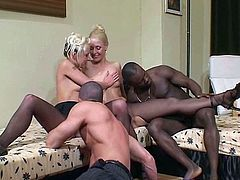 Blonde is getting fucked by hardcore black dick
