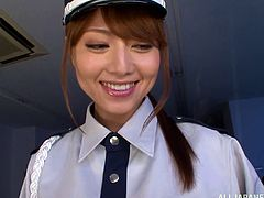 Sexy Akiho Yoshizawa finds a burglar and catches him. She decides to have some fun with him. She gives him a footjob and makes him cum.
