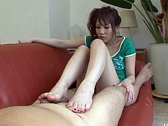 Nasty looking Japanese girl jerks off his dick and after swallows it deep in her throat. She likes to do it. Enjoy her skilled feet and juicy lips in action.