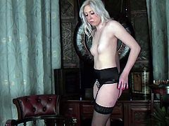 This blonde babe's got an amazing ass and you can see in this hot solo scene. Watch her playing with her pink pussy as she wears sensual lingerie.