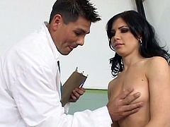 Her tight asshole is fucked by doctor's big cock