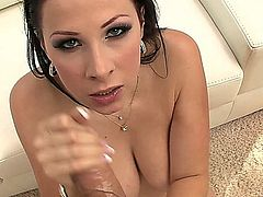 Gianna Michaels: big natural tits with a great body and a hairy bush. Cum on tits.