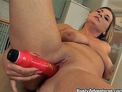 Barbora is in the kitchen nude. She has her special toy with her. She inserts the vibrator into her fat cunt and lets it do its magic. Her man is up next now that she is nice and wet. He fingers her pussy and licks her titties. She licks his shaft, sucks his balls and gives him a world-class titjob
