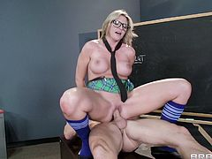 Busty blonde teacher likes being teased by hornt dad into fucking like sluts in hardcore