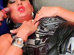Spoiled brunette mature sits on a chair with legs spread aside while aroused daddy pets her shaved cunt with hand through a hole in pantyhose. Later she gets on his sturdy cock for a ride in reverse cowgirl pose, which is later replaced with a missionary style where she gets to suck a horny dick of another wanker in sizzling hot group sex video by Tainster.