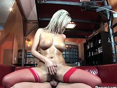 Trashy bitch Daria Glower is banged hard in her bearded clam