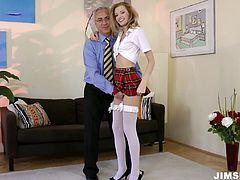 Angel takes on a college uniform looking extremely seductive and hot. She poses on cam for a bit demonstrating her body. Then she lies on a couch playing with her cooch actively.