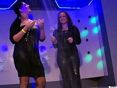 Drunk and spoiled hoes get on a scene to demonstrate their steamy half-naked bodies during a hot dance in sultry group sex video by Tainster.