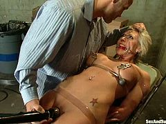 Sexy blonde Skylar Price is having fun with Derrick Pierce in a study. She lets the man put her into irons and then gets her juicy holes pounded as hard as never.