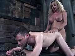 Gia Darling the horny transsexual gives a blowjob to Steven Sweat and then chains him. After that sucks a cock and gets fucked.