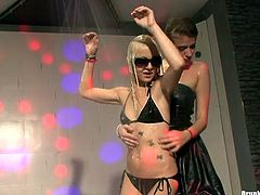 Voracious hoes are dancing dirty on a stage flashing their tits and booties. Watch this sexy performance of slutty Caucasian girls.