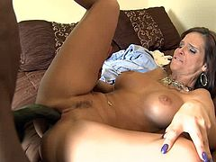 Busty slut likes feeling black dick penetrating her juicy cunt during wild interracial