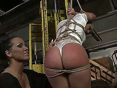 Cute blonde horny girl Kathia Nobili got tied up by her girlfriend Mandy Bright and being scoffed by