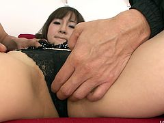 Torrid Japanese chick gets rid of her dress submissively. She plays with tits and giggles. Zealous nympho stretches legs wide and opens her wet hairy pussy. It's high time to polish her twat with a dildo causing her to moan madly.