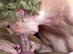 Effie with gigantic melons gets pleasure with erect love wand in her mouth