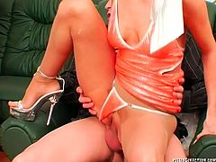 Sextractive blond stripper in steamy lingerie and pantyhose gets fucked in missionary and reverse cowgirl styles, while another mature hussy gets her muff eaten before she gives a head to rapacious bald daddy in steamy group sex video by Tainster.