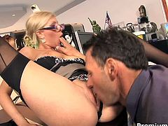Office slut Donna Bell gets her pussy slammed