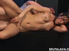 Asian Jayna Oso gets banged in her face