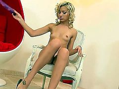 Blonde Sasha Rose stripping down to her birthday suit and plays with herself