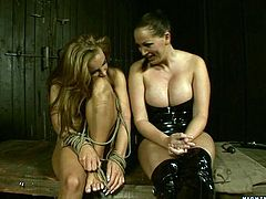 Sexy blonde Mandy Bright lets Bonny Bon tie her up. Then Bonny begins to finger and toy Mandy's hot pussy.