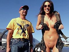 Our bad ass girls like to stay naked and they do so even when it's about getting in a airplane. Here we have them buckle up and ready for some trills. Forget about the landscape and the beautiful sights, check out her tits and how good this naked girl looks.