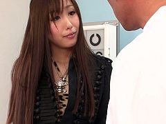 Two rapacious dudes seduce a seductive Japanese cutie. They lay her on the lounge before they take off her clothes and pull down her pantyhose in order to reach a pair of big round tits for oral stroke and later tongue fuck her bearded pussy in perverse threesome sex video by Jav HD.