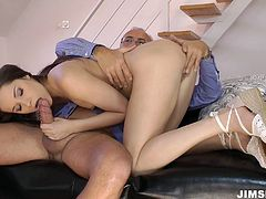 Amazing and surely hot lover with shining black haired was born to ride dicks. This already naked hooker with small tits has a strong desire to reach orgasm today. So ardent nympho does her best while jumping on the cock of the lucky old bastard.