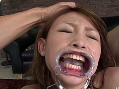 Scorching Japanese sweety Yuu Hinouchi gets her succulent pussy stimulated with vibrators. Then she blows two cocks for cum.