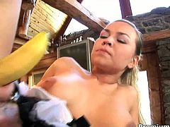 Mia Leone is a slutty maid with big juicy tits and slim body. She gets her tight pussy fucked hard in doggy pose. Then she climbs on top of him and rides him like she's a cowgirl on a bucking bronco.