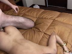 Spoiled Japanese hottie Yui Komine gives her boyfriend the best blowjob of his life. Then he fucks her sappy pussy hard in doggy position.