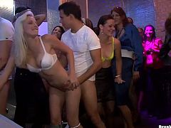 Outageous hoes are banged brutally in a club