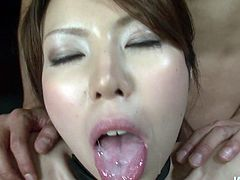 Alluring Japanese hussy oral fucks sturdy penis standing on her knees in front of him while rapacious dude mauls her tits from behind before she lies on her back to continue oral fucking while getting fucked in missionary pose.