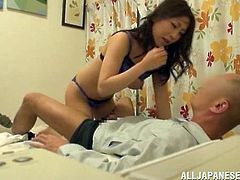 Horny Japanese chick with big boobs sucks a cock and licks guy's ass. After that she gets her vagina licked and fucked hard.