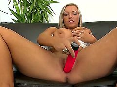 Amateur scene with exciting Cristal Swift, her big boobs and lucky dildo that plunges into her pussy