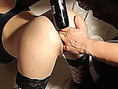 Hot amateur slut brutally fisted and fucked with a huge wine bottle in her destroyed gaping asshole