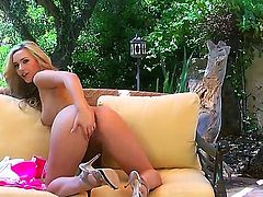 Superb blondie Sophia Knight enjoys naughty solo session in outdoor scene
