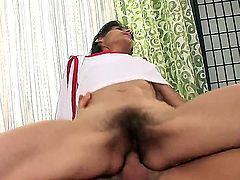 Pretty strong and sexy shaped guy J.J. got his mature girlfriend Sona in his bedroom and fucked her hairy cunt first and then drilled out her asshole