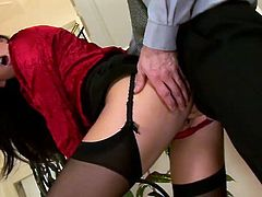 Be pleased with her nice ass swallowing his dick in cowgirl style. She looks hot and adorable in this red satin blouse and black stockings. Enjoy her for free.