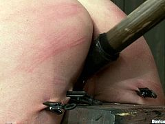 There's going to be some extreme toying action in this vid for Charlie Ann, a girl who will be stuck in a pillory and fucked by toys after getting spanked.