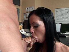 Brunette beauty enjoys huge cock fucking her deep and making her swallow