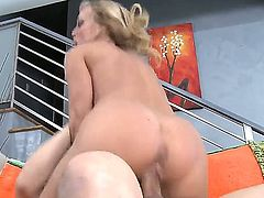 Anthony Rosano gets seduced into fucking by Amber Lynn with massive hooters