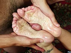 Watch this kinky blonde milf having her feet worshiped by this guy before she takes a ride on his big hard cock.