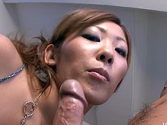 Adorable cum addicted bitch Erena Kurosawa gives a hot blowjob to her horny lover. Later she takes his throbbing cock with her feet and starts giving a footjob.