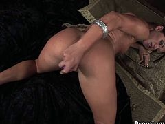 Mind taking brunette babe takes off her clothes revealing delicious body before she lies on a floor to pound her soaking delicious pussy with dildo.