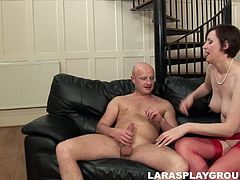 Short haired British brunette wears red lingerie. The body of this mature hooker is far from being ideal. Her ass is pale and cellulitis. Her boobs are droopy. But voracious nympho is a great lover, who sucks a dick for cum as if there's no tomorrow.