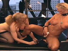 Busty blonde babes are having the best time deep stimulating their wet pussies and ass holes
