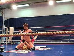 Two aggressive chicks Angel Rivas and Niky Goldfight at the ring being naked. They scream, kick hard, sometimes they touche the erogenous zones to get pleasure fighting. Enjoy!